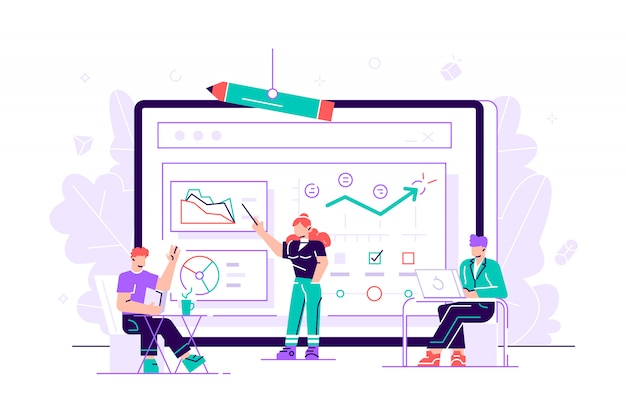 Manager employee presenting new business strategy project to higher rank executives or directors board members man  woman bosses. white board diagram presentation. flat style  illustration