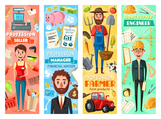 Manager, engineer, farmer and seller professions