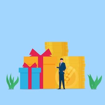 Менеджер передает подарок своему сотруднику. метафора бонуса и награды.