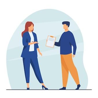 Менеджер дает документ женщине-боссу для подписи. руководитель, помощник-мужчина, договор. иллюстрации шаржа