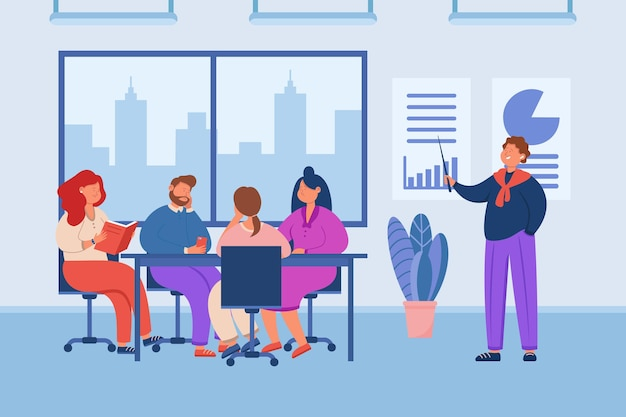 Manager giving tiresome presentation to audience in office. cartoon character giving boring lecture to team of people, training at work flat  illustration