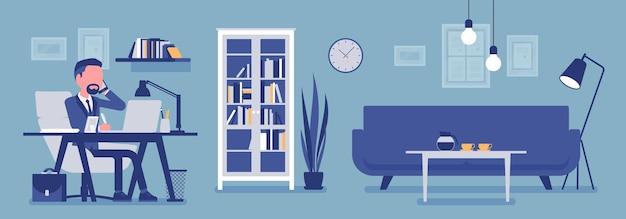 オフィスのマネージャー、モダンなビジネスワークスペースのインテリア。部屋で働くビジネスマン、美しさと職場の機能性のための軽いデザインと家具のソリューション。ベクトルイラスト、顔のない文字