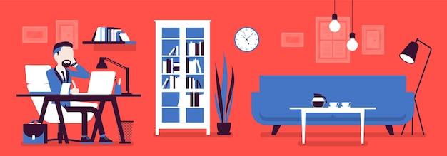 オフィスのマネージャー、モダンなビジネスワークスペースのインテリア。部屋で働くビジネスマン、美しさと職場の機能性のためのライトデザインと家具ソリューション。