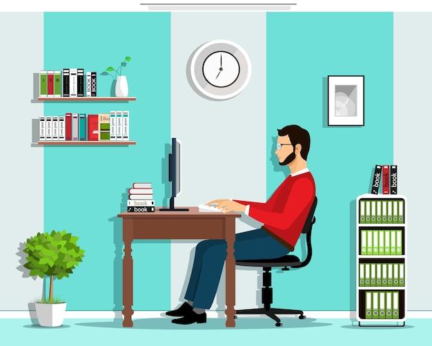 Менеджер в офисе. набор: человек, работающий в офисе, сидя за столом, глядя на экран компьютера, офис с мебелью.