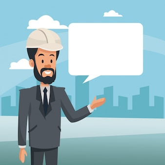 Manager man construction bubble speech and urban bakcground