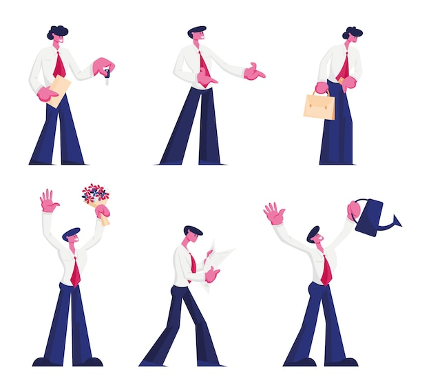 Manager, office employee or businessman occupation set. cartoon flat illustration