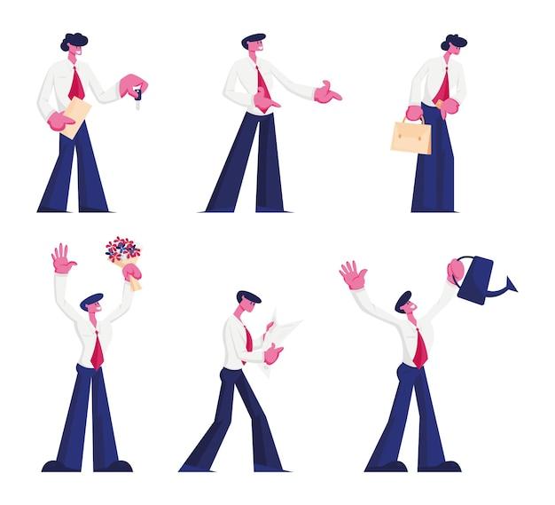 관리자, 사무실 직원 또는 사업가 직업 세트. 만화 평면 그림