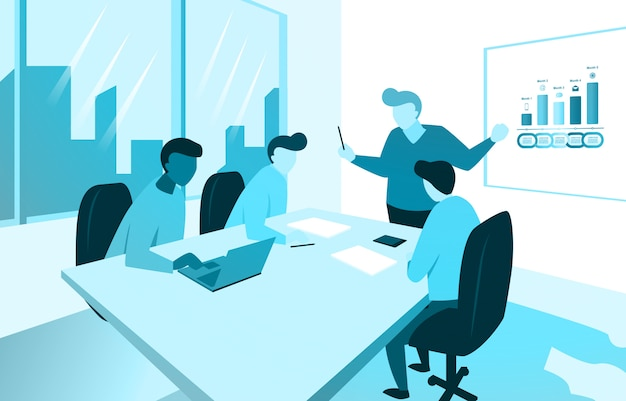 Manager presenting business marketing plan with team at office meeting illustration