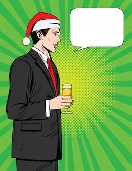산타 클로스 모자에 맞게 프로필에 서있는 관리자