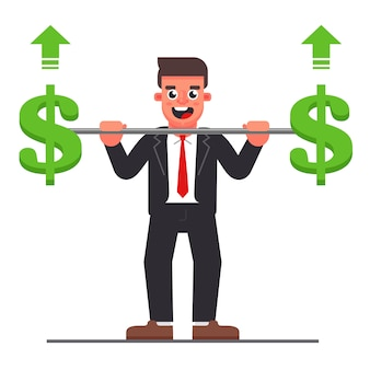 Manager with a barbell with a dollar symbol. company profit increase. flat character vector illustration.