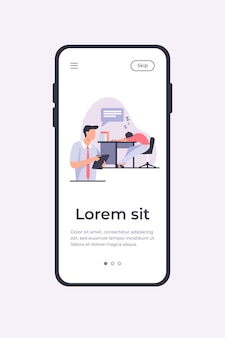 Manager with tablet reporting about sleepy colleague. tired employee sleeping at workplace flat vector illustration. lazy worker, office informer concept for banner, website design or landing web page