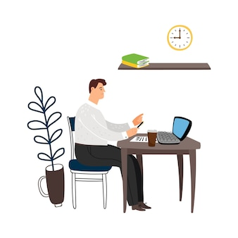 Manager at work. man sits at table and works with documents vector illustration