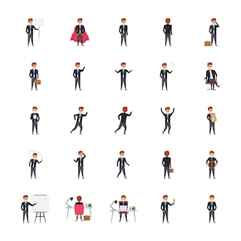 Managers in different poses and emotions illustrations