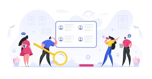 관리자 hr은 자격을 갖춘 직원 평면 개념의 온라인 검색 및 모집을 수행합니다.
