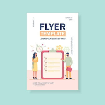 Managers with task list flyer template