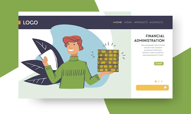 Managing bank account and doing financial administration, saving money and investing in project. young man with assets and contract on hands. website or web page landing template, vector in flat style