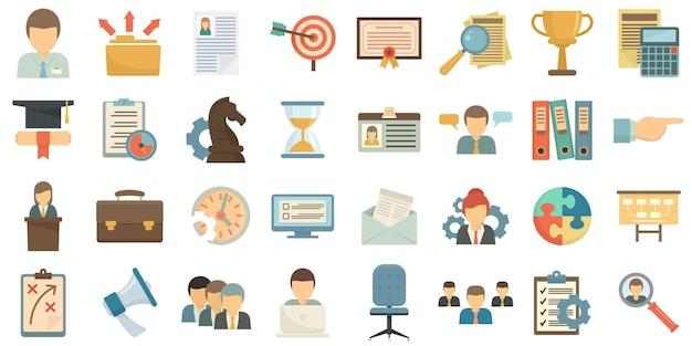 Набор иконок управления навыками. плоский набор управленческих навыков векторные иконки, изолированные на белом фоне