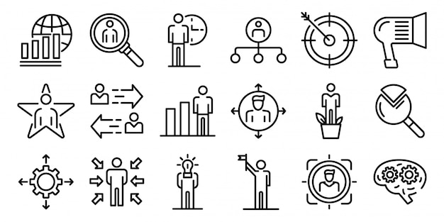 Managing skills icons set, outline style