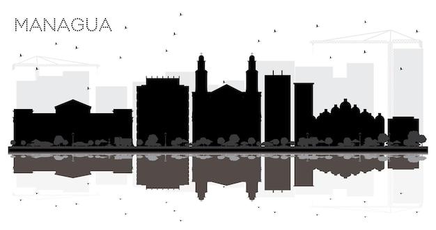 Силуэт города манагуа никарагуа на линии горизонта черно-белый с отражениями. векторные иллюстрации. простая плоская концепция туристической презентации, баннера, плаката или веб-сайта. городской пейзаж манагуа с landm