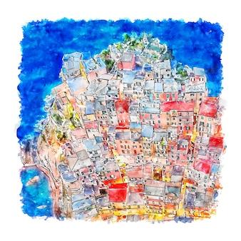 Манарола чинкве-терре италия акварельный эскиз рисованной иллюстрации