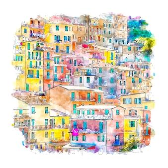 Манарола италия акварельный эскиз рисованной иллюстрации