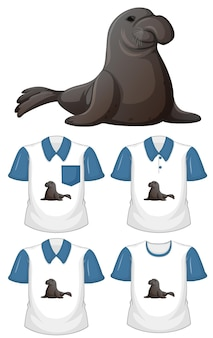 Personaggio dei cartoni animati di lamantino con molti tipi di camicie su priorità bassa bianca