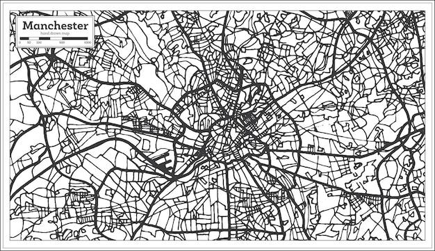 복고 스타일의 맨체스터 잉글랜드 도시 지도. 개요 지도. 벡터 일러스트 레이 션.