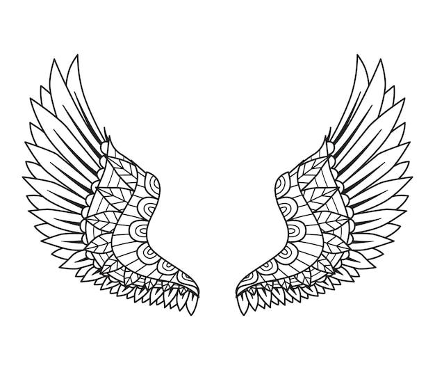디자인 요소, 조각, 종이 절단, 인쇄 또는 색칠하기 책을 위한 만다라 천사 날개. 벡터 일러스트 레이 션.