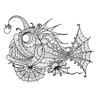 Mandala anglerfish for coloring book, printing on product,laser cutting,eangraving and so on. vector illustration.
