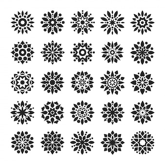Mandala arabesque logo pattern set in black and white color