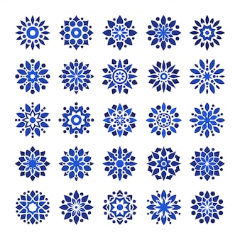 Mandala arabesque logo pattern set in blue navy color