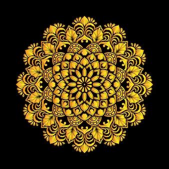 만다라 아트 디자인. 매력적이고 아름다운 꽃 장식.