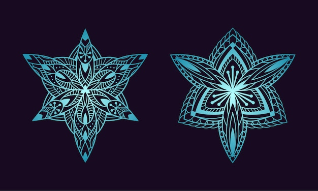 Mandala art ornament, floral, ethnic gradient color