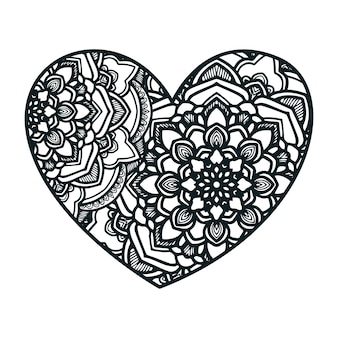 Mandala art with heart shape.