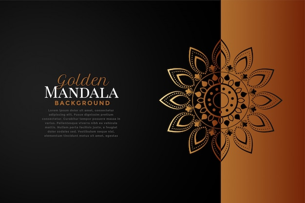 Mandala background in black and rose gold color