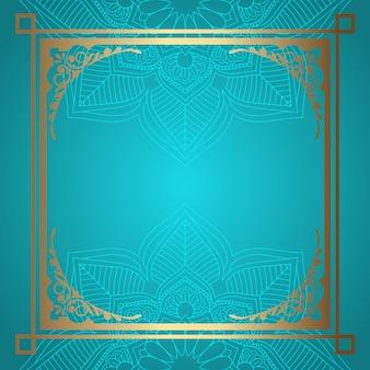 Mandala background with decorative gold border
