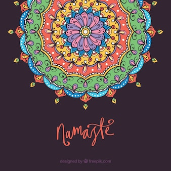 Mandala background with namaste concept