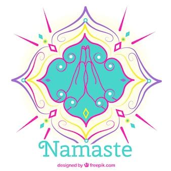 Mandala background with namaste greeting