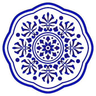 Mandala blue and white, abstract floral ornamental round borde