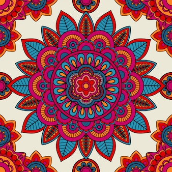 Mandala boho hand drawn seamless pattern