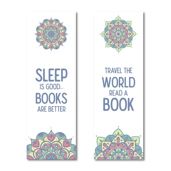 Mandala bookmarks template with quotes.
