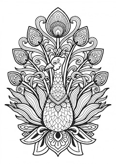 Mandala for coloring page peacock design.