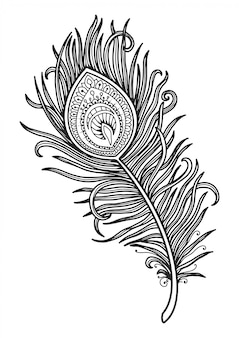 Mandala for coloring page peacock feather design.