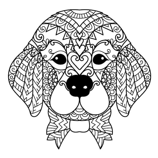 만다라 귀여운 골든 리트리버 강아지는 제품, 조각, 색칠하기 책 등에 인쇄할 수 있습니다. 벡터 일러스트 레이 션.