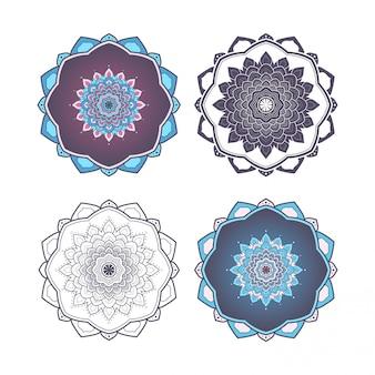 만다라 디자인 파란색과 보라색 색상