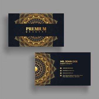 Mandala design decorated horizontal business card with front and back presentation.