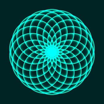 マンダラのデザイン。フラワーオブライフ。神聖な幾何学。数学記号。バランスと調和。ベクトルイラスト。