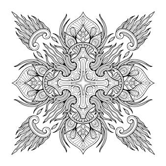 ページを着色するためのマンダラデザイン