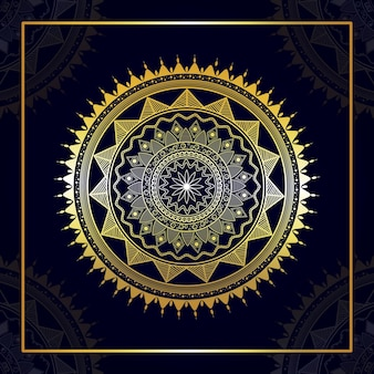 マンダラデザインの黄金のアラビア語のパターン