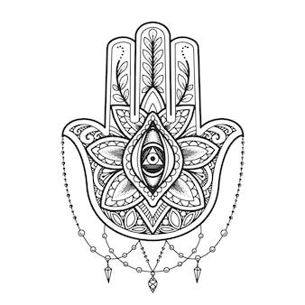Мандала дизайн. символ хамса